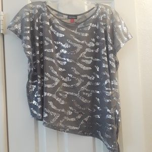 Womans Vince Camuto Sparkly Sheer Overlay Shirt XS